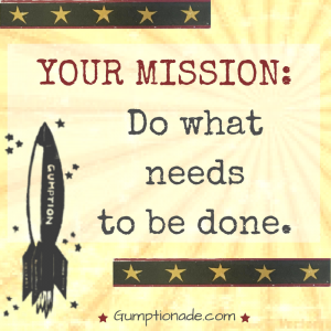 You have a mission every day: to do what needs to be done.